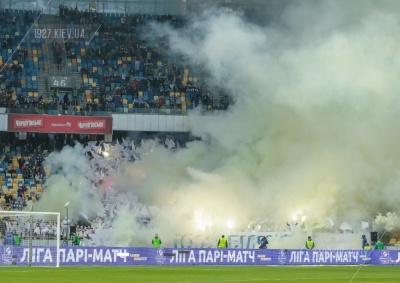 «Палаючий» «Олімпійський» під час дербі «Динамо» - «Шахтар»