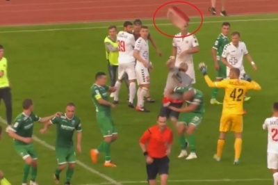 Фанат «Волыни» бросил в главного арбитра отломанное сиденье в матче с «Карпатами»
